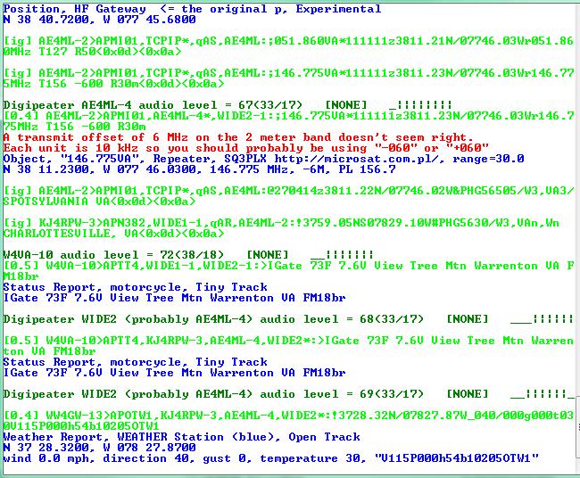 Sample log from Direwolf