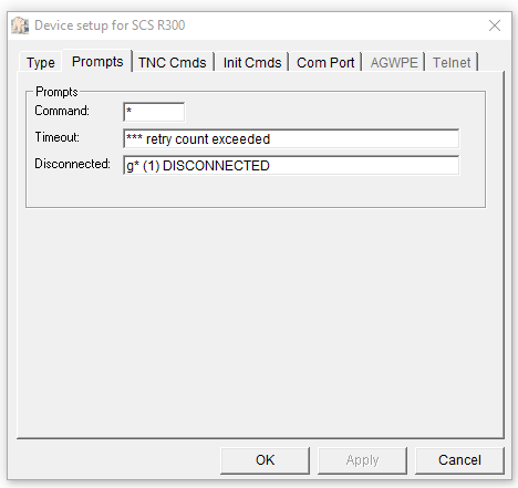 Outpost PMM Interface Prompts setup screen for SCS DSP Tracker TNC