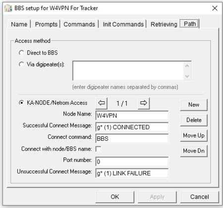 Outpost PMM BBS Path setup screen for SCS DSP Tracker TNC specific to VAPN access